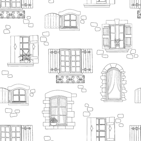 Seamless pattern with vintage windows and flowers. Vector illustration