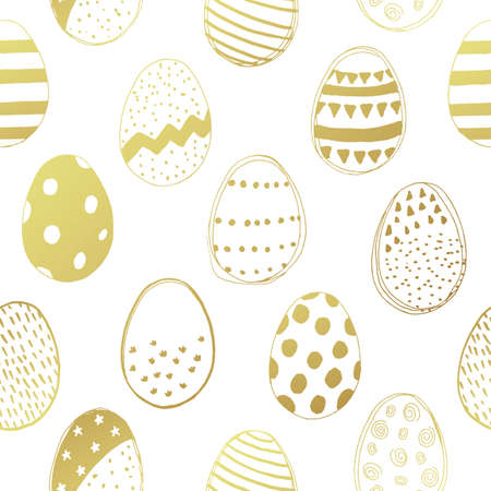 Seamless pattern with easter eggs doodles. Vector illustration