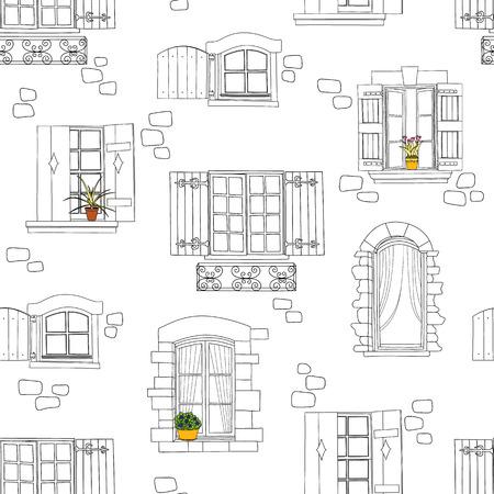 lijntekening: Naadloos patroon met vintage ramen en bloemen. vector illustratie