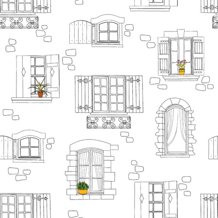 line drawing: Seamless pattern with vintage windows and flowers. Vector illustration
