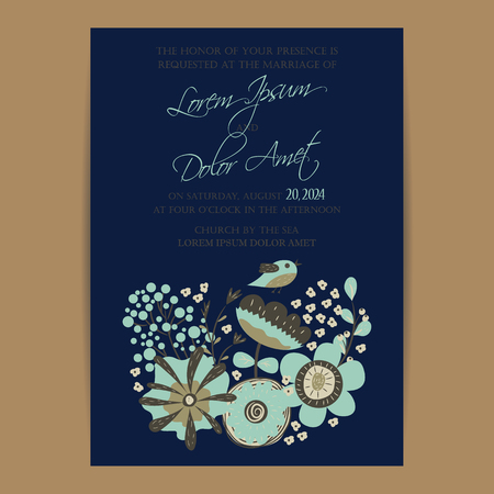 wedding reception: Invitation or announcement card with floral background. Can be used as greeting card, birthday card or wedding invitation.