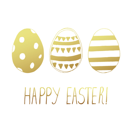Easter greeting card with easter eggs doodles. Hand lettering. Vector illustration