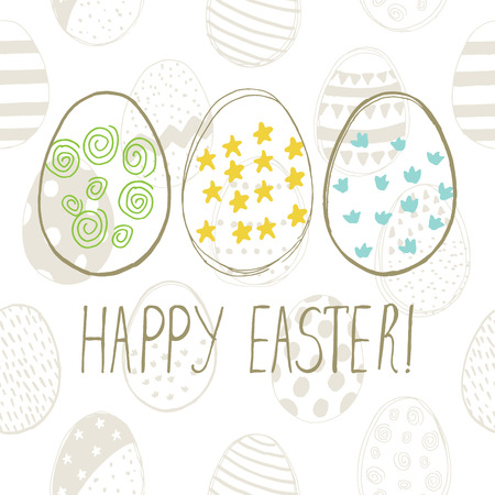 easter sign: Easter greeting card with easter eggs doodles. Hand lettering. Vector illustration