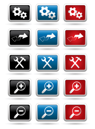 rectangular: Icons set on the rectangular buttons. Vector illustration