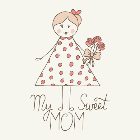 kid portrait: Happy Mothers Day greeting card. Illustration