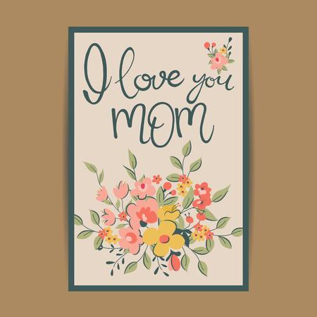 flower head: Happy Mothers Day greeting card. Vector