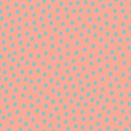 pink background: Seamless pattern with blue stars on pink background. Vector illustration Illustration