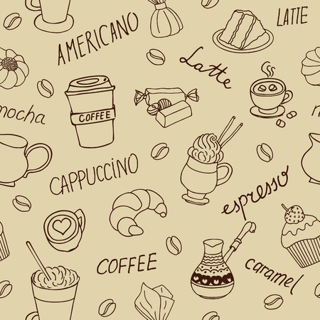 background coffee: Seamless coffee background with hand drawn elements