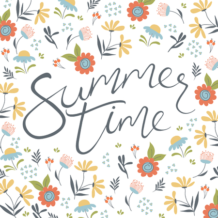 Summer time. Hand drawn lettering on the floral background.