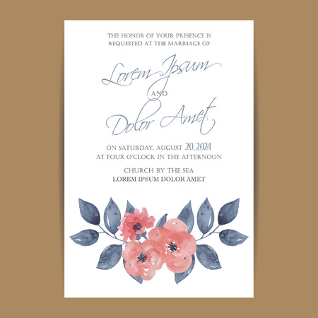 watercolour background: Wedding invitation card or announcement with beautiful flowers. Illustration