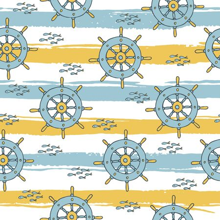beach wrap: Summer seamless pattern on striped background. Vector illustration Illustration