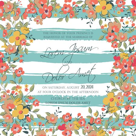 wedding reception: Wedding invitation or announcement card Illustration