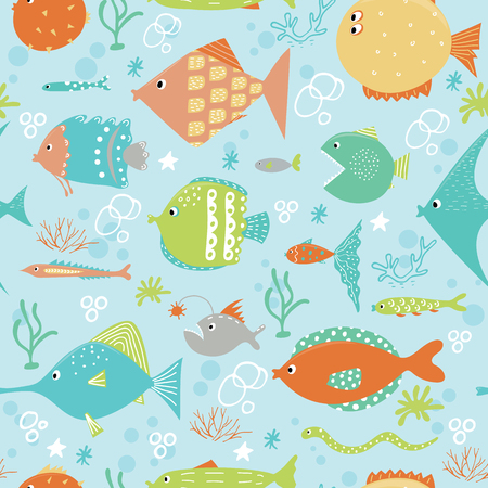 coral snake: Set of exotic fish. Vector illustration. Isolated