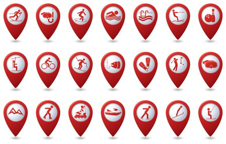 pointers: Sports icons set on map pointers