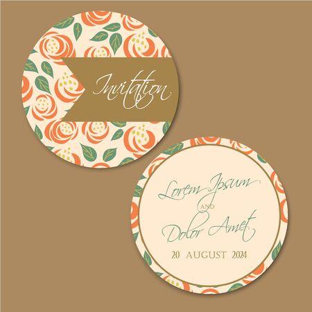 round back: Beautiful round, double-sided vintage wedding invitation card. Illustration