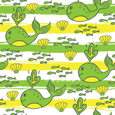 beach wrap: Summer seamless pattern with fish, whale and shell on striped background. Illustration