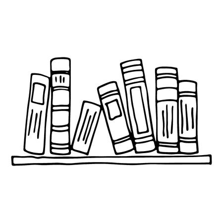 Books on the shelf isolated on white background