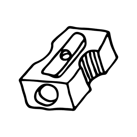 hole in one: Pencil sharpener icon. Outlined on white background. Illustration