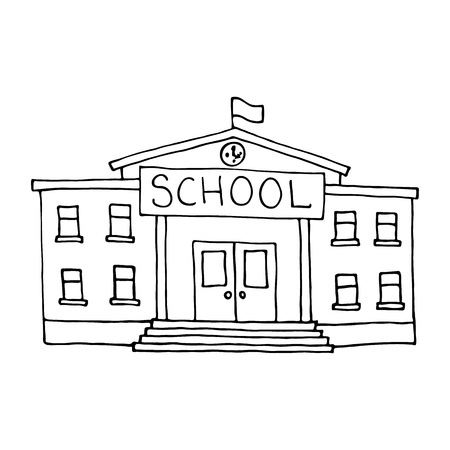 white window: School building doodle. Outlined on white background.