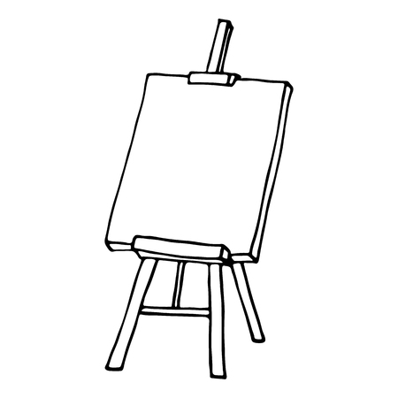 artists: Easel icon. Outlined on white background.
