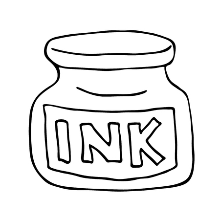 ink pot: Ink pot icon. Outlined on white background.