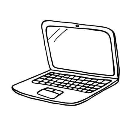 outlined: Laptop icon. Outlined on white background. Illustration