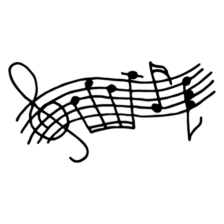 Music notes on stave. Outlined on white background. Vector Illustration