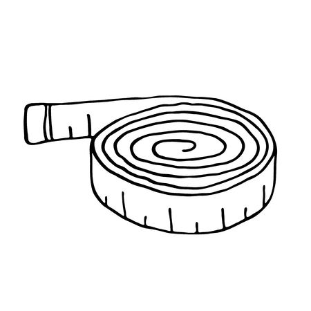 girth: Measuring tape icon in outline style. Measurement symbol Illustration