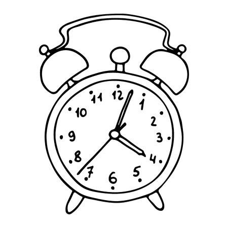 Cartoon alarm clock. Vector illustration.