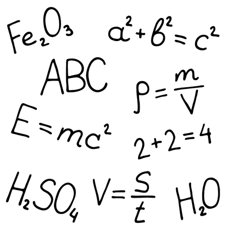 tangent: Hand drawn formulas vector set.