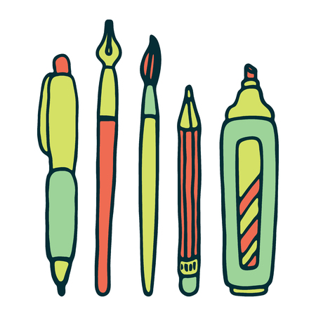 ball pens stationery: Pens, pencil, marker and brush vector set. Vectores