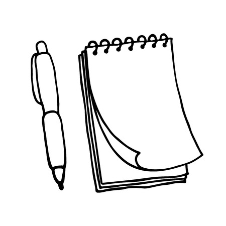 note pad: Note pad and pen icons. Outlined on white background.