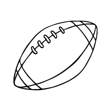 is outlined: Rugby and American football ball. Outlined on white background.