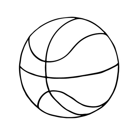 Basketball ball Icon. Outlined on white background. Illustration