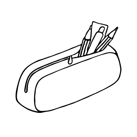 pencil drawing: Pencil case icon. Outlined on white background. Illustration