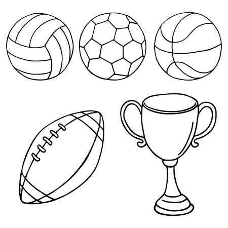 outlined: Balls and winner cup icons. Outlined on white background.