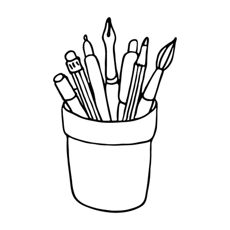 pencil holder: Brushes, pencils and pens in the holder. Vector illustration Illustration