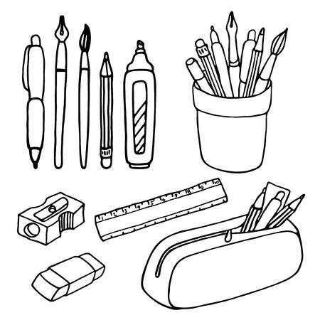 Brushes, pencils, pens, ruler, sharpener and eraser icons.
