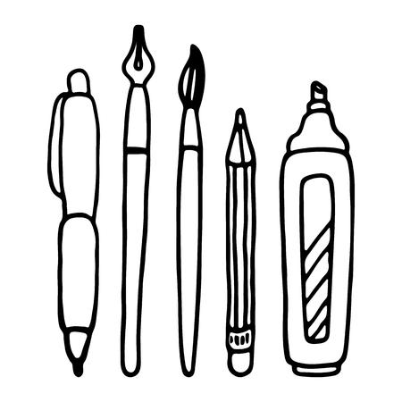 ball pens stationery: Bolígrafos, lápiz, marcador y sistema de cepillo del vector.