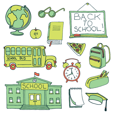 colection: Education hand drawn set. School icons colection Illustration
