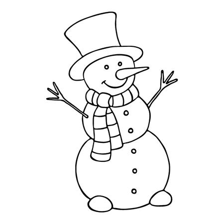 Muñeco De Nieve De Dibujos Animados Para Colorear Libro