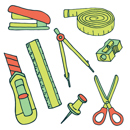 stationery items: Set of sketch stationery items and school supplies. Vector illustration Illustration
