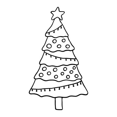 christmas tree illustration: Cute Christmas tree. Vector illustration