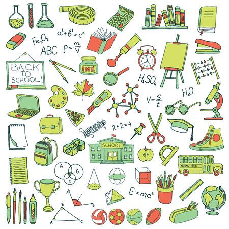 Hand drawn school icons set. Vector illustration.