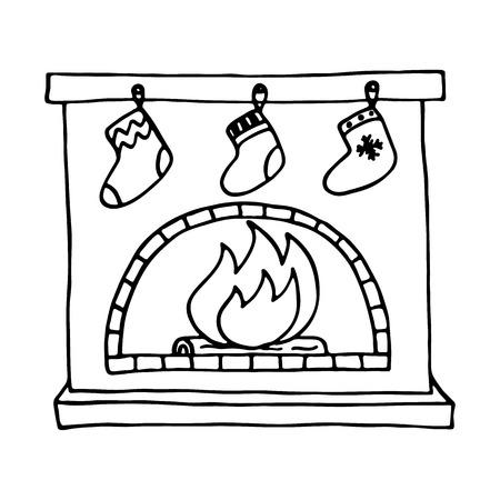 burning: Christmas fireplace on white background. Vector illustration. Illustration