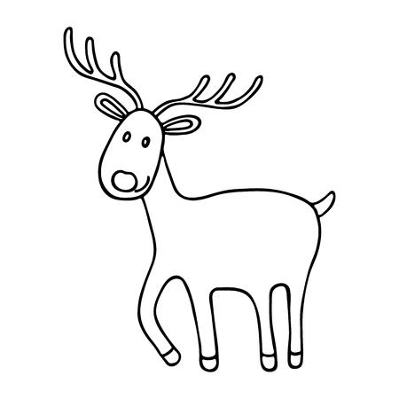 flat nose: Cartoon Christmas deer icon. Vector doodle illustration Illustration