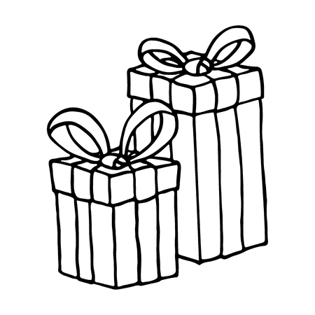 christmas gift: Gift box icon on a white background. Vector illustration