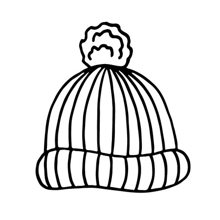 warm clothing: Knitted winter cap on white background. Vector illustration