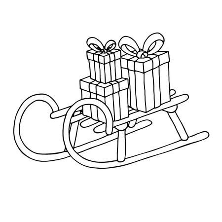 infancia: Trineo con cajas de regalo, aisladas sobre fondo blanco. ilustración vectorial