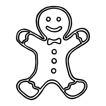 Weihnachtslebkuchen auf weißem Hintergrund. Vektor-Illustration
